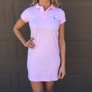 ❌SOLD❌Pink polo preppy mini dress with blue logo